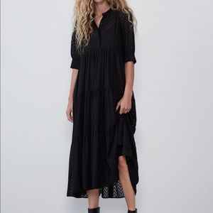 Zara Swiss dot midi dress medium black new